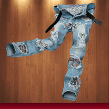 Hot Sale Mens Spring Fashion Jeans Light Blue Size 30-38 Cotton Casual Mens Slim Fit Biker Denim Jeans Wholesale & Retail MB209