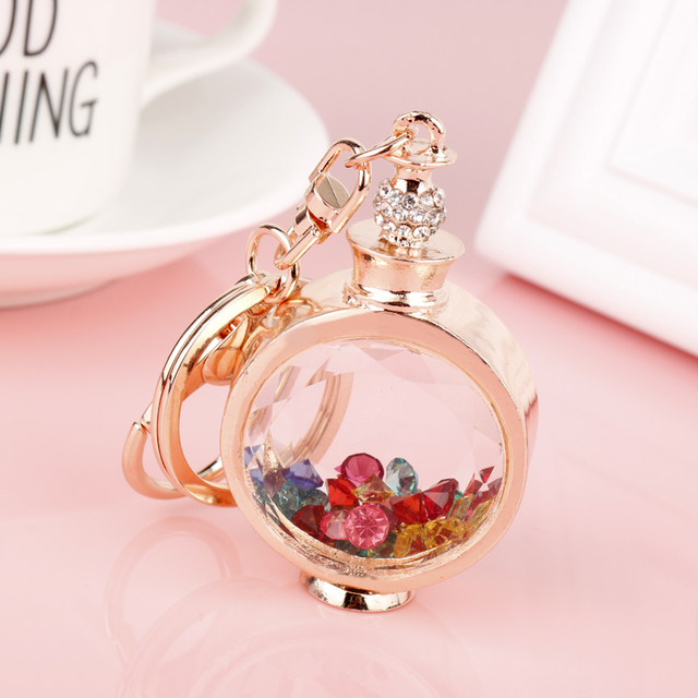 506768fa7e807 Fashion Women Rhinestone Perfume Bottle Keychain Accessories Alloy Car  Keyring Charm Women Handbag Key Ring Holder Bag Keyrings