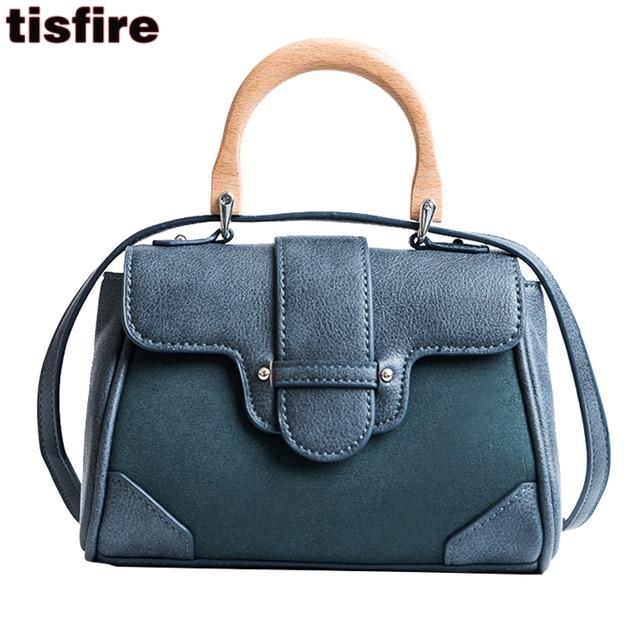 254bce0028c4 women top-handle bags crossbody bag vintage leather handbags wood handle  Korean Shoulder Handbag vintage brand designer bag 2019