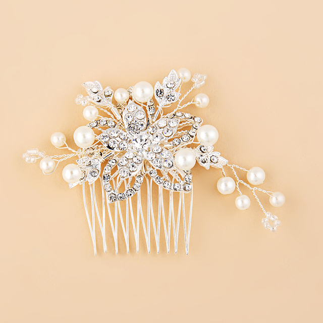 Wedding Bridal Pearl Hair Comb Flower Crystal Hair Clips Bridesmaid Jewelry Wedding Bridal Accessories Hair jewelry