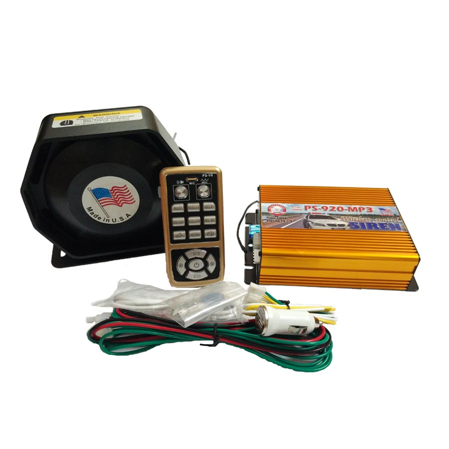 ФОТО 200W 12V Police Siren AS920-MP3 Gold Amplifier Metal Ultra Slim Speaker Car Siren Full Set Alarm Wireleless Control Loudspeaker