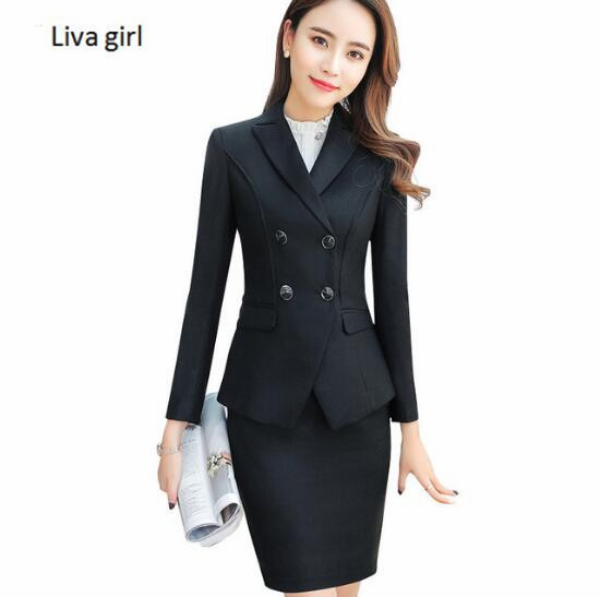 8ac93c098cd High quality business skirt suits set spring Slim fashion Double Breasted  long sleeve blazer and skirt