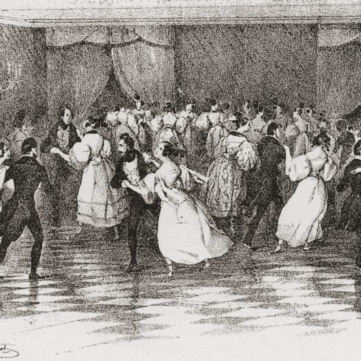 Dancing the polka at a ball in 1830 From Illustrierte Sittengeschichte vom Mittelalter bis zur Gegenwart by Eduard Fuch