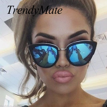TrendyMate Retro Sexy Cat Eye Women Sunglasses Female Metal Frame Sunglasses Brand Designer Alloy Legs Glasses Oculos De Sol 711
