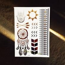 3D Diy Dreamcatcher Designs Gold Flash Metallic Tattoo Women Body Art Jewelry Sticker 21x15CM Silver Hamsa Eye Hands Tattoos