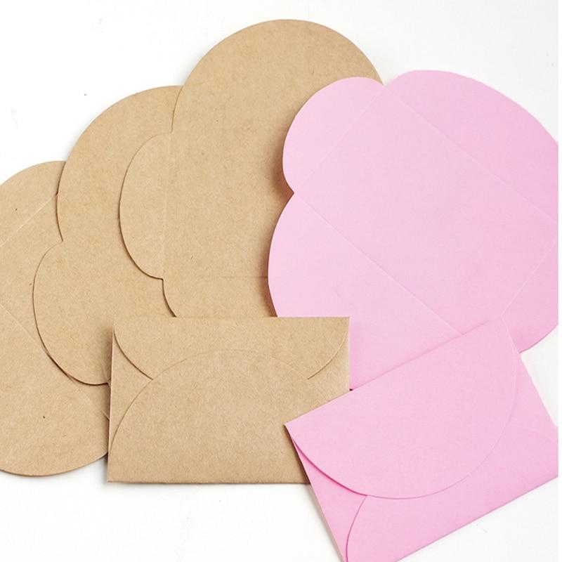 100pcs 9x6cm Retro Colored Kraft Paper Envelopes Mini Series Card Envelope Wedding Party Invitation Card