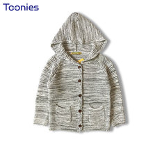 Hooded Knitted Cotton Boys Cardigans Sweater for Children Clothing Casual Long Sleeve Pocket Child Clothes Gray Toddler Sweaters