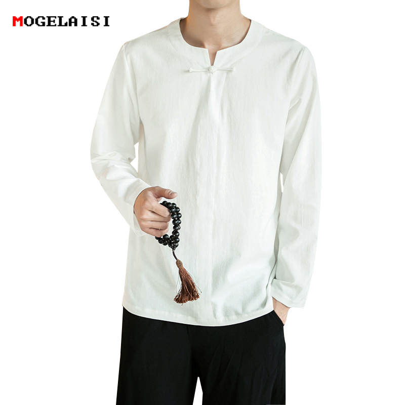 Mens Long Sleeve Plain 100/%Cotton Shirt Breathable Collarless Casual Blouse Tops