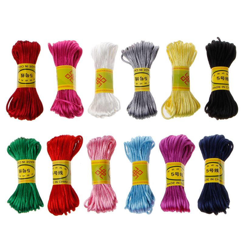 10m Soft Satin Nylon MultiColor Cord Solid Rope For Jewelry Making Beading Cotton Cord For Baby 2.5mm DIY Necklace Pendant
