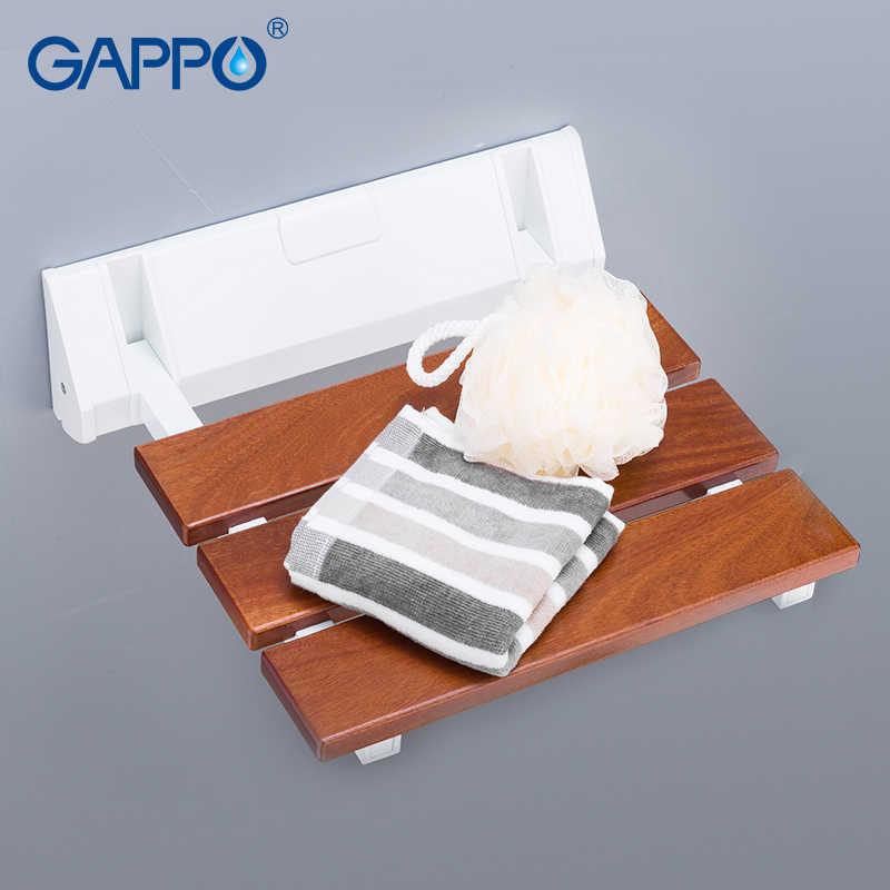 GAPPO ウォールマウントシャワー席木製折りたたみ用椅子リラックス椅子シャワースツールトイレ風呂ベンチ