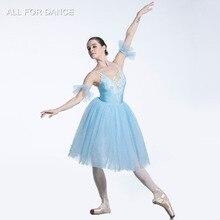 Бледно Синий Топ Лиф Романтический балетные костюмы пачка для девочек и для женщин сценическое выступление балетная пачка