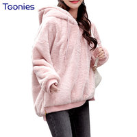 2018 Fashion Autumn Winter Pink Hooded Plush Velvet Hoodies Cashmere Thickened Female Pullovers Loose Furry Sweatshirt
