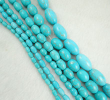 Natural stone Oval Turquoises Beads DIY Beads For Bracelet Necklace Jewelry Making Wholesale T5(China)