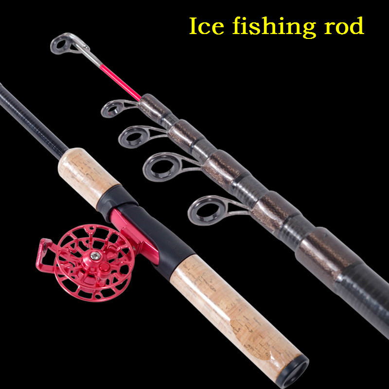 Super Light High Quality Ice Fishing Rod Hard Winter Stream Telescopic Carp Fishing Rod High Carbon Fishing Cane with Drum Reel high quality ultra light portable high carbon cloth sea fishing rod dual use bait cast carp ice fishing rod