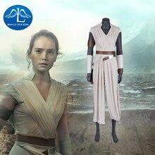 Manluyunxiao Rey kostium gwiezdne wojny 9 wzrost Skywalker Cosplay Halloween dorosły superbohater Jedi Rey strój sukienka Cosplay