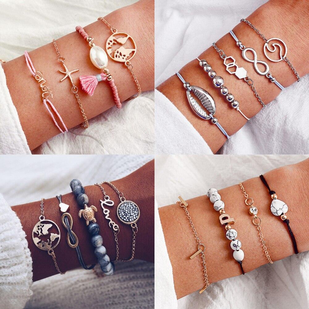 17 KM ® Fashion Lettre Bracelet /& Bangle for Women simple réglable couleur or