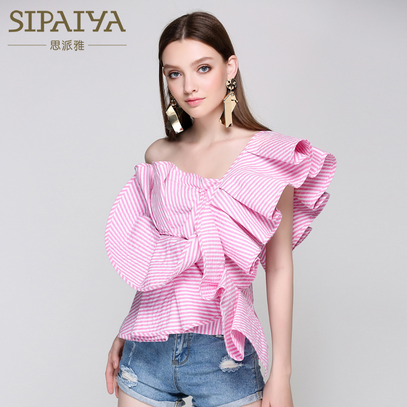 SIPAIYA One Shoulder Ruffles font b Blouse b font Shirt Womens 2017 Off Shoulder Cool font