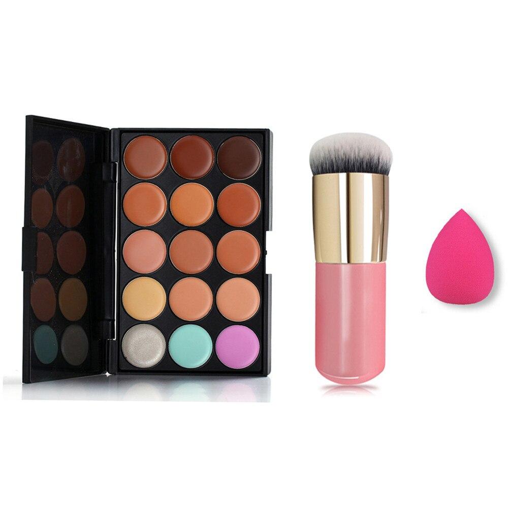 2018 15 Colors Face Concealer Cream Contour Palette+Brush Set+Water Sponge Puff Face  Longlasting Makeup Beauty Pincel maquiagem