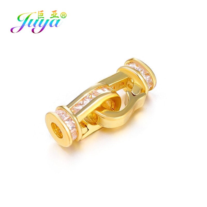 Juya DIY Gold/Silver/Rose Gold Connector Hooks Fastener Clasps For Natural Stones Pearls Jewelry Making Components Wholesale