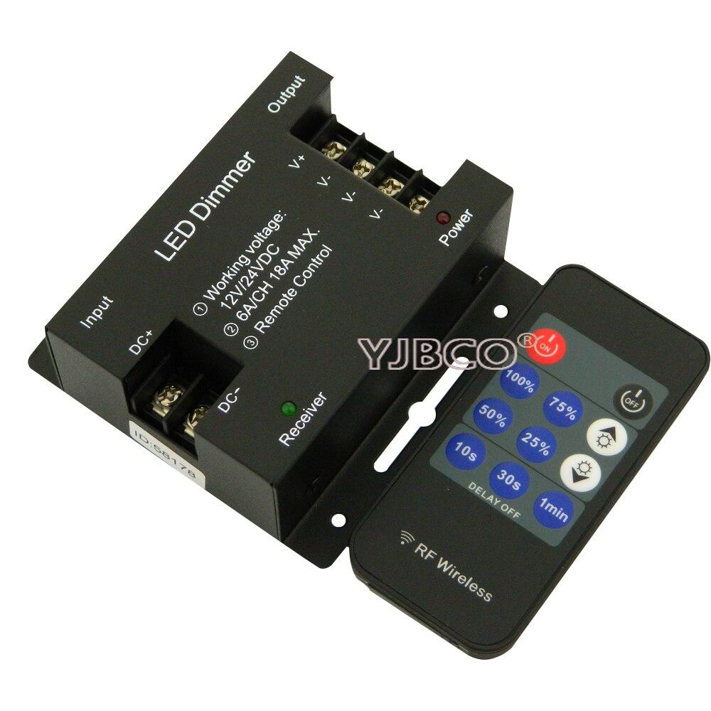 DC12-24V Iron shell RF 11 Keys led dimmer; 6A*3 Channel(3ch signal are the same)output;Output Power 12V<192W, 24V<384W