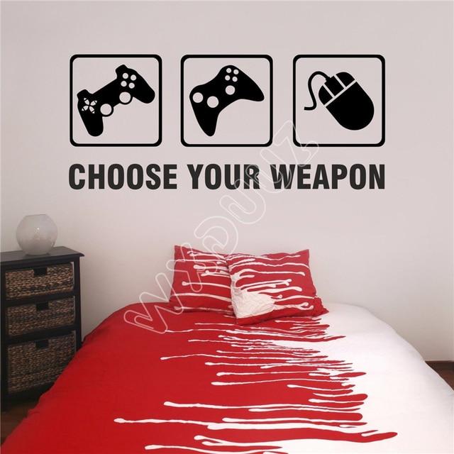 WXDUUZ Choose Your Weapon Gamer Vinyl Wall Sticker Decal Childrens ...