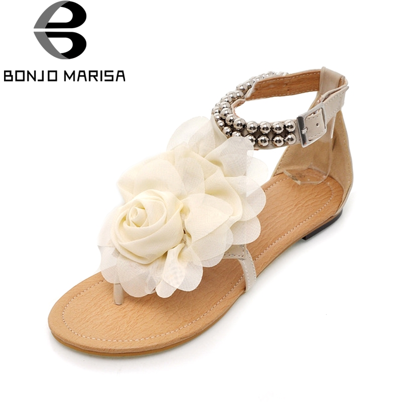 BONJOMARISA New Arrivals Low Heel Women Sandals Shoes Woman Hohemia Style Flower Summer leisure Beach Shoes Big Size 34-43 new women sandals low heel wedges summer casual single shoes woman sandal fashion soft sandals free shipping