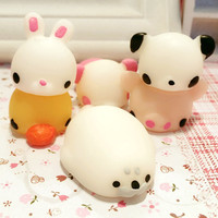 6pcs Set Funny Mochi Seal Chicken Tiger Pig Bunny Bear Squeeze Healing Toy Collection Stress Reliever