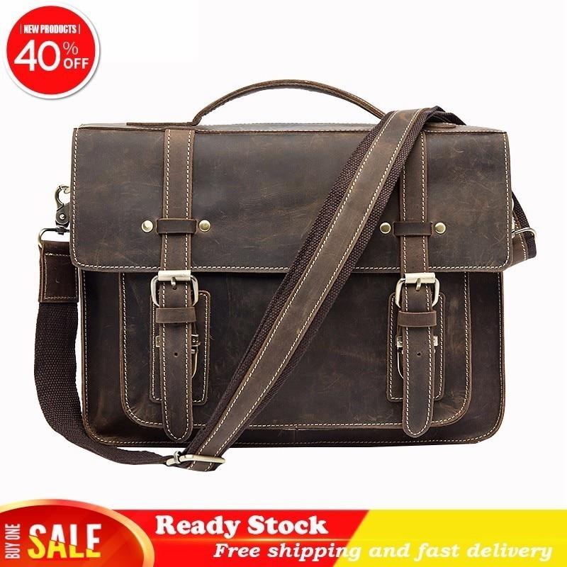 Male Briefcases Genuine Leather Luxury brand Laptop computer Messenger office Men Shoulder Bag handbags for documents Best Sale