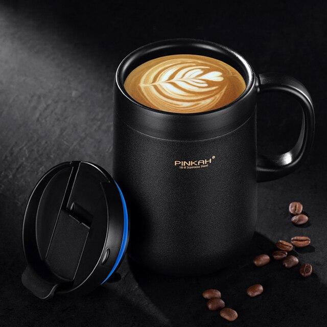 Offre spéciale Pinkah café Thermo tasse 350ml 460ml bureau vide flacons maison Thermos tasse avec poignée tasse isotherme Thermos comme cadeau
