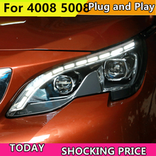 цена на Car headlight for Peugeot 4008 5008 2017-2018 Headlights LED Angel eyes Signal light DRL Daytime light Bi-Xenon lens