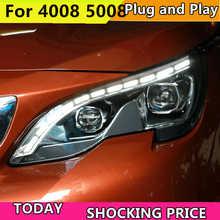 Car headlight for Peugeot 4008 5008 2017-2018 Headlights LED Angel eyes Signal light DRL Daytime light Bi-Xenon lens - DISCOUNT ITEM  20% OFF All Category