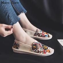 цена на 2019 Spring Women Flats Shoes Slip On Casual Ladies Canvas Shoes Lazy Loafers Breathable Female Espadrilles Printing Footwear