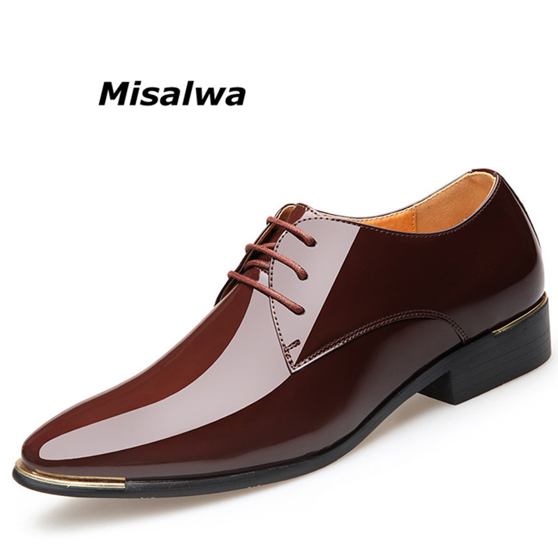 Misalwa Men Luxury Dress Shoes Patent Leather Oxford Mens Shoes Italy White Derby Formal Male Flats Drop Shipping Plus Size 3847 image