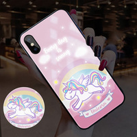 EKIND Unicorn serie Tempered Glass Phone Case for iPhone X XS XSMAX Led LOGO flash Glass Case For iPhone Protective Phone Cover