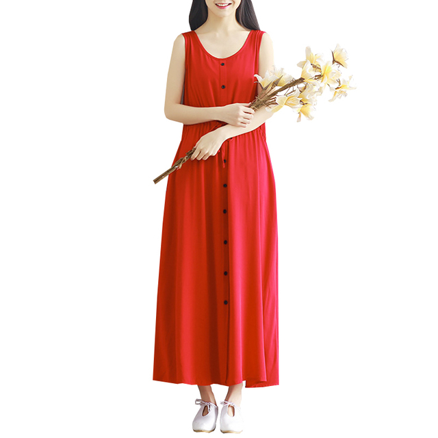 da297f34bb 2017 New Summer Style Dress Women Vintage Solid Red Maxi Dresses Sleeveless  Vestidos Plus Size Lady Button Long Tank Dress SF160