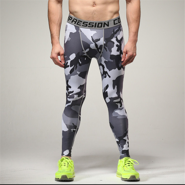 8da9e372f4 Camo Mens Compression Jogging Pants Leggings Running Base Layer Fitness  Trousers Tights Sport Training Gym Wear