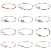 Rose Gold Pave Heart Barrel Clasp MOMENTS Smooth Bracelet Fit Pandora Snake Chain Bracelet Bangle 925