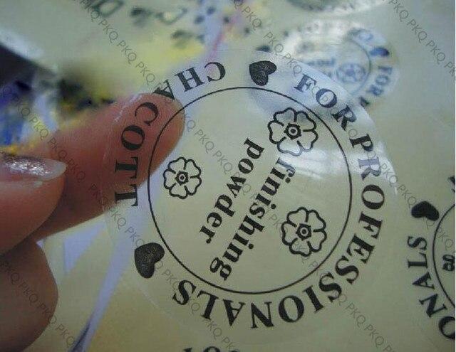 Customized transparent PVC sticker waterproof adhesive label printed Customer logo free shipping 1000pcs 2cm/3cm/4cm/5cm/6cm