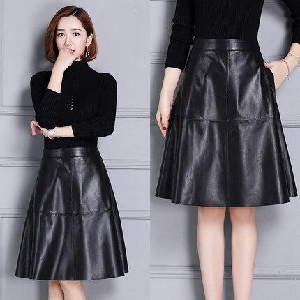 733e1153da Falda de cuero Slim de cintura alta Falda plisada K110 - a ...