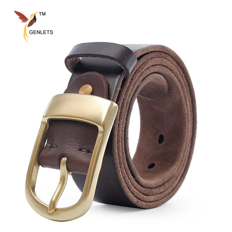 2017 new brand luxury leather belt for men high quality mens belt jean strap gold buckle thong black color