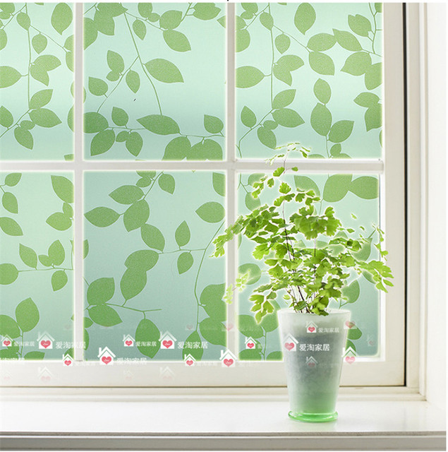 Green leaves pattern glass film opaque glass insulation balcony bathroom window stickers affixed width 45cm