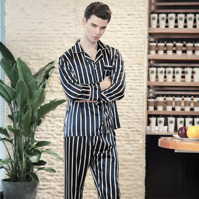 SSH0142 Satin Silk Mens Pyjama 2018 Striped Sleepwear Nightwear Brand 2 Pieces Pajama Set Spring Autumn Full Sleeves Pant Pijama in Men 39 s Pajama Sets from Underwear amp Sleepwears