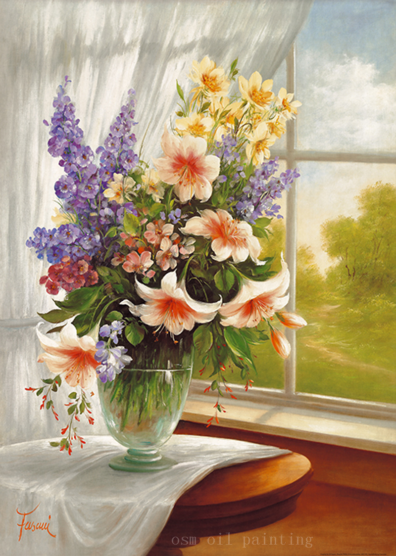 Canvas printing beautiful colorful flowers in the vase closed the canvas printing beautiful colorful flowers in the vase closed the window fine wall artwork print oil canvas printing for home in painting calligraphy reviewsmspy
