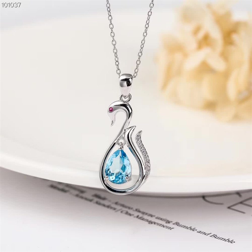 wholesale trendy 925 sterling silver natural blue topaz necklace pendant for women party gift