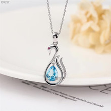 лучшая цена wholesale trendy 925 sterling silver natural blue topaz necklace pendant for women party gift