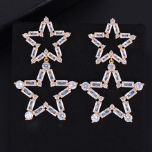 SISCATHY Luxury Star Cubic Zirconia Earrings Charms Engagement Wedding Women Dress Fashion Jewelry Party Accessories