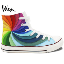 Wen Original Design Custom Hand Painted Shoes Rainbow Color Vortex High Top Flats Lace Up Sneakers for Men Women's Gifts