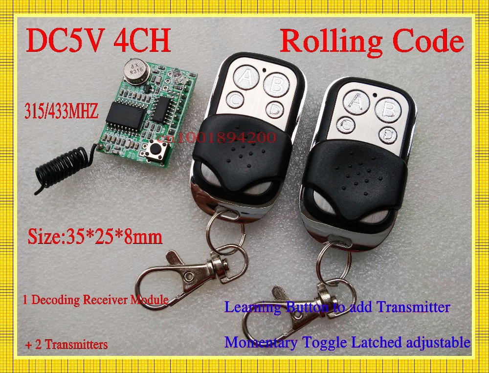 DC 5V 4CH Rolling Code Remote Control Receiver Module + 2Transmitters  RF Wireless Decoding Receiver Module Learning 315/433 TTL dc 5v bluetooth audio receiver module usb tf sd card decoding board preamp output support fat32 system