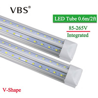 LED Tube T8 Integrated 600mm 20W 2FT V Shape Led Bulbs Tubes Light 2Feet AC85 265V