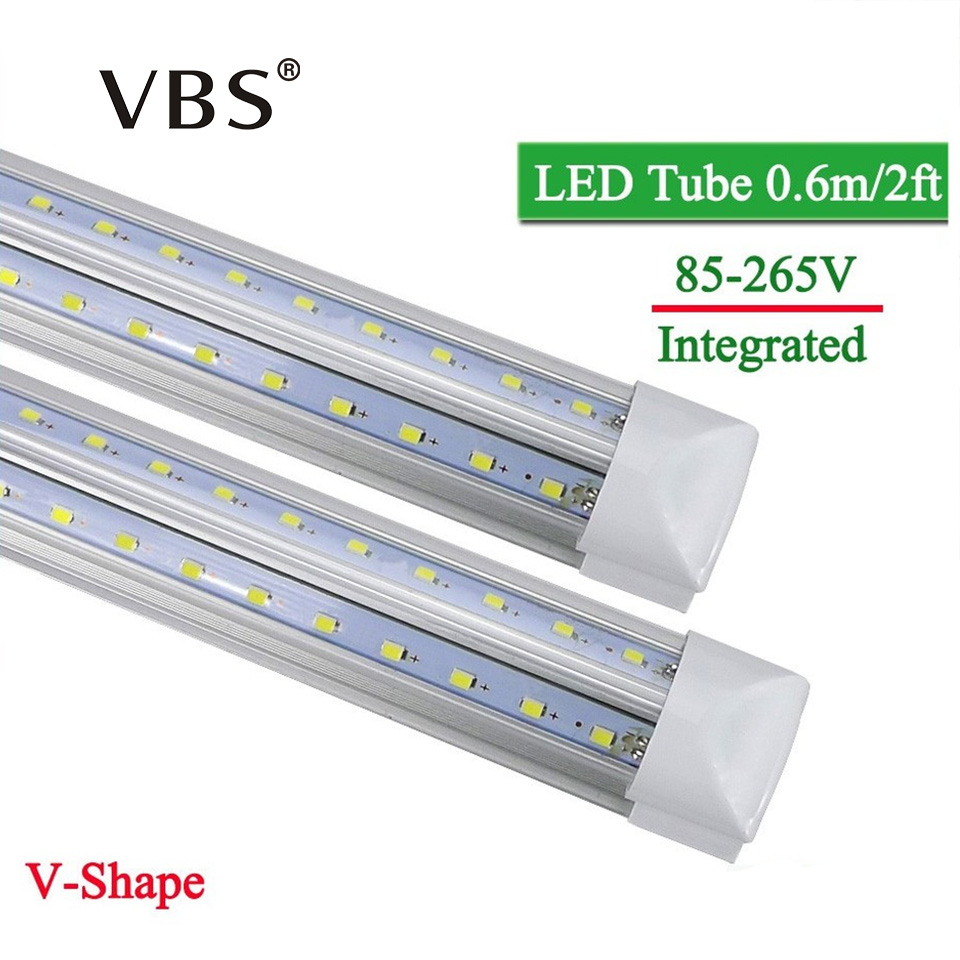 1Pcs LED Tube T8 Integrated 570mm 20W 2FT V-Shape Led Bulbs Tubes Light 2Feet AC85-265V 96LEDs SMD2835 2000lm 270 Degree CE ROHS